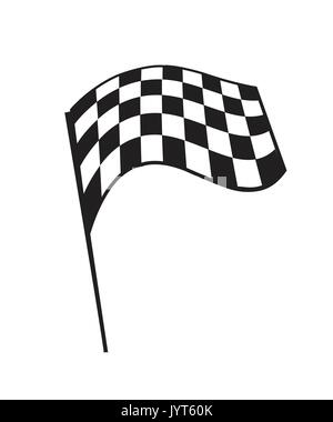 flying checkered flag, illustration design, isolated on white background. - Stock Photo