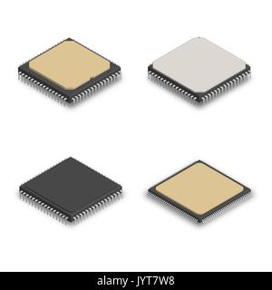 Set of processors of different shapes isolated on white background. Elements design of electronic components. 3D - Stock Photo
