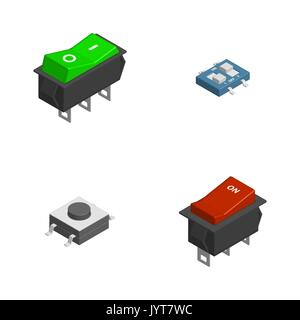 Set of different electric buttons and switches isolated on white background. 3D isometric style, vector illustration. - Stock Photo
