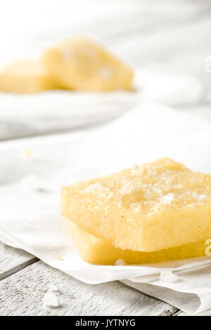 Sgagliozze, Traditional Italian Street Food from Bari: Fried Cornmeal with Salt - Stock Photo