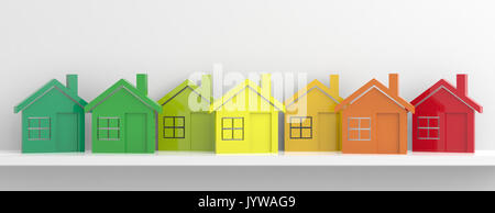 Houses and energy efficiency concept. 3d illustration - Stock Photo