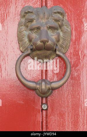 ... Brass lion door knocker on a red wooden door - Stock Photo & Elaborate vintage wooden doors on the grounds of Mission San Luis ... pezcame.com