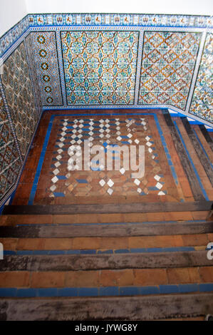 Seville, Alcazar: the staircase of Admiral's Hall, the House of Trade with the Indies founded in 1504 by Queen Isabel - Stock Photo