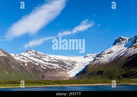 Engabreen or Enga glacier arm of Svartisen ice cap from Holandsfjorden fjord. Meløy municipality, Helgeland, Nordland, - Stock Photo