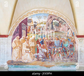 Fresco by Luca Signorelli, Benedict discovers Totila's deceit, The Abbey of Monte Oliveto Maggiore, Tuscany, Italy - Stock Photo