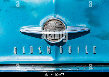 Name on the front of an Oldsmobile 88 Futuramic car. - Stock Photo