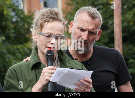 Manchester, UK. 20th Aug, 2017. Actress, Maxine Peake standing with actor Christopher Eccleston on the anniversary - Stock Photo