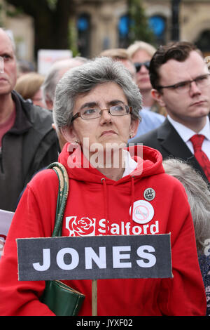 Manchester, UK. 20th Aug, 2017. A women holding a sign which reads 'Jones' at a memorial marking the 198th anniversary - Stock Photo