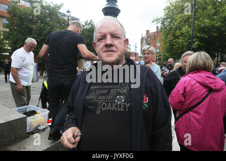 Manchester, UK. 20th Aug, 2017. British Actor John Henshaw joins people at a memorial marking the 198th anniversary - Stock Photo