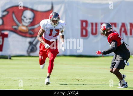 August 19, 2017 - Tampa Bay Buccaneers wide receiver Mike Evans (13) during drills at training camp in Tampa, Florida, - Stock Photo