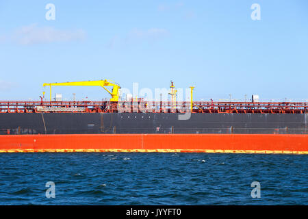 Description manifold on the deck of chemical tanker ship. - Stock Photo