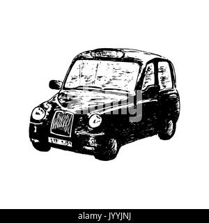 London classic black taxi cab, isolated, drawn vector sketch illustration. side view. Retro hackney carriage - Stock Photo