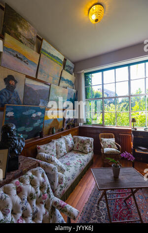 Interior of Claude Monet's home in Giverny, Normandy, France Stock on