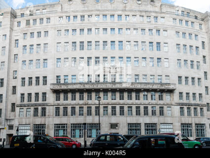 Outside view of the BBC Broadcasting House, Portland Place, London, England, uk - Stock Photo