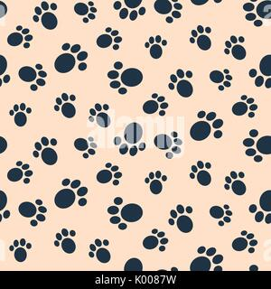 Dog paw print vector seamless pattern. - Stock Photo