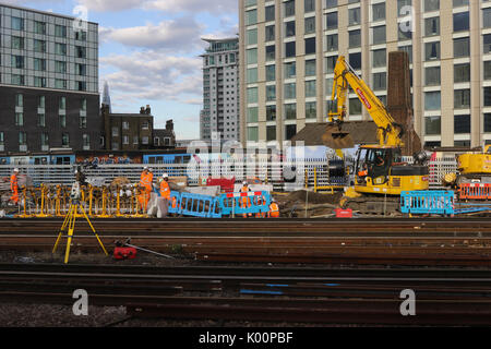 Works ongoing at London Waterloo station for the stations planned upgrade over August 2017 - Stock Photo