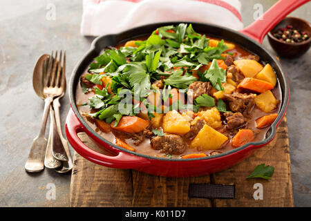 Stewed beef with potatoes, carrot and parsley - Stock Photo