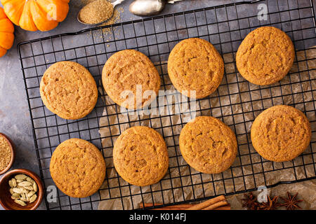 Fall snickerdoodle cookies with pumpkin - Stock Photo