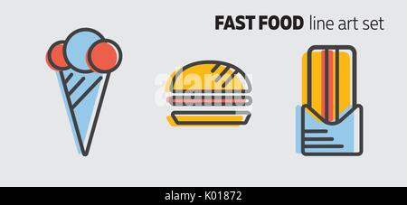Fast food design concept, flat style banner with thick line art. Street food icons on grey background. Ice cream, - Stock Photo