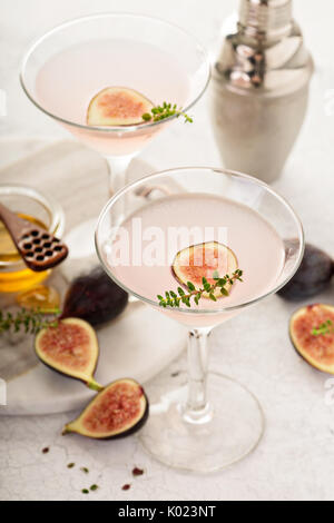 Pink fig and honey martini - Stock Photo