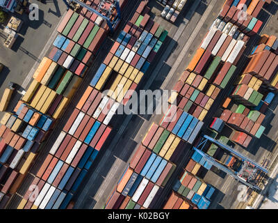 Warehouse with many containers - Stock Photo