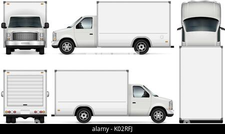 Van template for car branding and advertising. Isolated freight delivery truck set on white background. All layers - Stock Photo