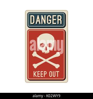 Danger sign with skull. - Stock Photo
