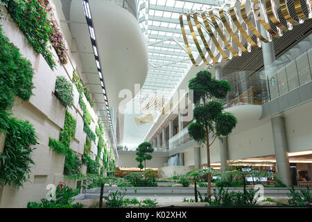 Changi Airport Terminal 4, fantastic interior design. - Stock Photo
