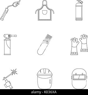 Welder icon set, outline style - Stock Photo