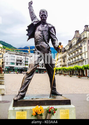 Montreux, Switzerland - June 26, 2012: Freddie Mercury bronze statue, a british singer and the lead vocalist of - Stock Photo