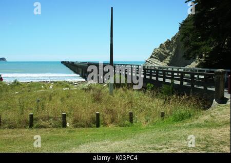 The pier at Tolaga Bay New Zealand - Stock Photo