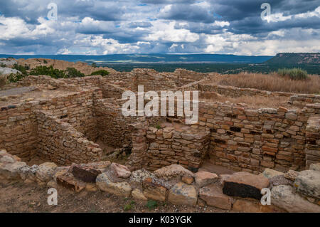 Ancient Puebloan ruin  named by Zuni Indians Atsinna, place of writings on rock, El Morro National Monument, New - Stock Photo