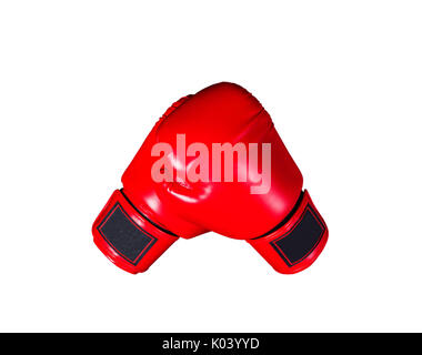 Red boxing gloves on a white background. - Stock Photo