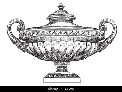 Ancient carving street vase vector hand drawing illustration in black color isolated on white background - Stock Photo