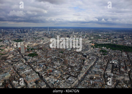 A panoramic view across London from Marylebone showing the skyline and River Thames in the distance - Stock Photo