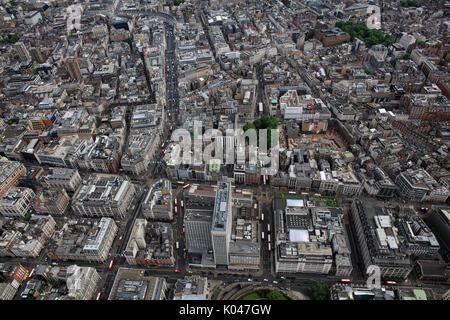 An aerial view of London from Oxford Circus looking down Regent Street towards Mayfair and Soho - Stock Photo