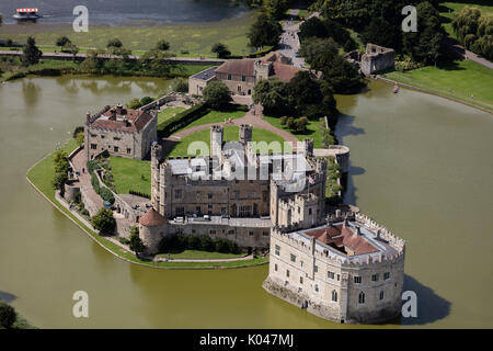 An aerial view of Leeds Castle, Kent. - Stock Photo