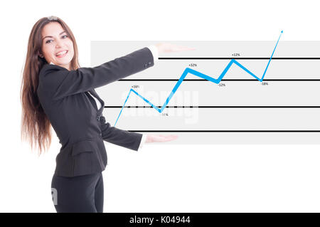 Happy business woman holding financial increasing chart. Marketing evaluation growth concept - Stock Photo