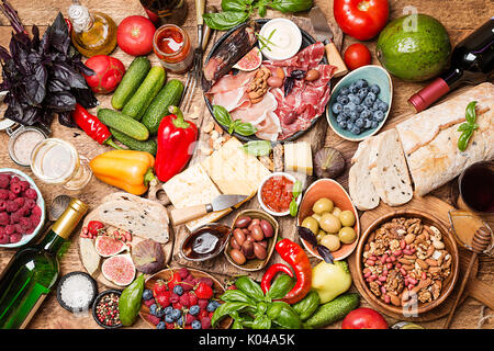 Top view table full of food - Stock Photo