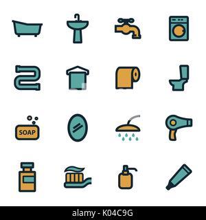 Vector flat bathroom icons set - Stock Photo