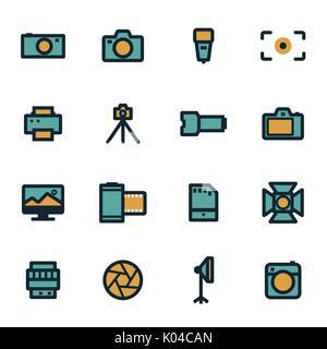 Vector flat camera icons set - Stock Photo