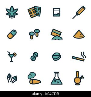 Vector flat drugs icons set - Stock Photo