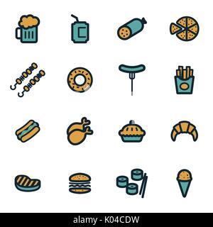Vector flat fastfood icons set - Stock Photo
