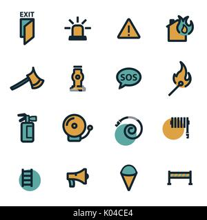 Vector flat firefighter icons set - Stock Photo