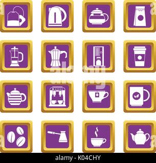 Tea and coffee icons set purple - Stock Photo