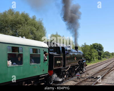 Steam loco 2-6-4 class 4MT 80104 renumbered 80146 for 2017 for 50th anniversary of last of steam on Southern Region - Stock Photo