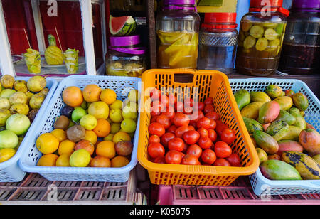 A fruit store at downtown in Port Louis, Mauritius. Port Louis is the country economic cultural political centre - Stock Photo