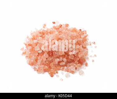 Himalaya or Himalayan rock salt over white background. - Stock Photo