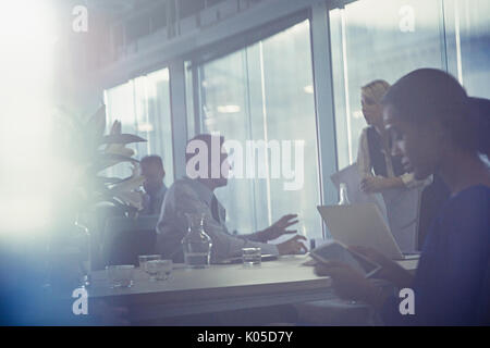 Silhouette business people talking in conference room meeting - Stock Photo