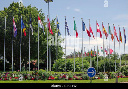 Montmorillon, France, Flags of 27 Member states of EU, Union Jack removed, empty flag-pole, since declaration of - Stock Photo